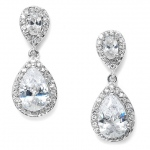 Mariell Lustrous Cubic Zirconia Teardrop Wedding Earrings