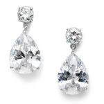 Mariell Classic Cubic Zirconia Pearshape Drop Bridesmaid Or Wedding Earrings