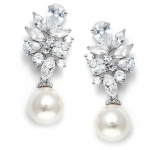 Mariell Dazzling CZ Cluster Wedding Earrings with Pearl Drop