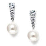 Mariell Graduated CZ Wedding Earrings with Pearl Drop