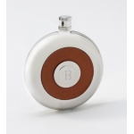 JDS Personalized Oxford Round Leather Flask  with Shot