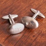 JDS Personalized Brushed Cufflinks: Oval