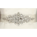 Mariell Opulent Ivory Satin Bridal Sash with Crystal Starburst