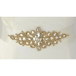 Mariell Opulent Ivory Satin Bridal Sash with Gold and Crystal Starburst