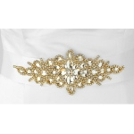 Mariell Opulent White Satin Bridal Sash with Gold and Crystal Starburst