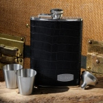 JDS Personalized Leather Flask Set: Executive