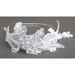 Mariell Vintage White Lace Headband with Pearls & Sequins