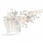 Mariell Brushed Silver Floral Wedding Comb with Freshwater Pearls & Crystals