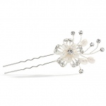 Mariell Wedding or Prom Hair Pin with Freshwater & Crystal Sprays