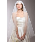 Mariell Renaissance Beaded Lace Applique Juliet Wedding Veil