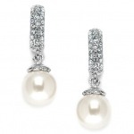 Mariell Clip On Pearl Wedding Earrings with Inlaid Cubic Zirconia