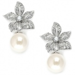 Mariell Vintage Floral Pearl Drop Wedding Earrings