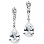 Mariell Cubic Zirconia Pears Dangle Earrings with Graduated Top