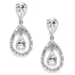 Mariell Cubic Zirconia Caged Teardrop Wedding Earrings