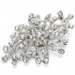 Mariell Budding Crystal Blossoms Silver Wedding Pin