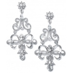 Mariell Vintage Ribbon Crystal Chandelier Earrings