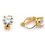 Mariell Gold Clip-On Earrings with 8mm CZ Solitaire