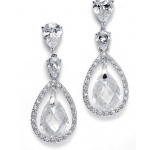 Mariell Bridal Earrings with Faceted Pear-Shaped Drops