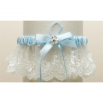 Mariell Embroidered Ivory Lace Scalloped Something Blue Bridal Garter