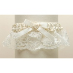 Mariell Ivory Lace Wedding Garter with Satin Band with Pearl Heart