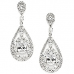 Mariell Cubic Zirconia Mosaic Teardrop Bridal, Prom Or Wedding Earrings