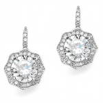 Mariell 3 Ct Cubic Zirconia Vintage Hexagon Drop Earrings