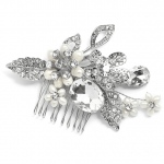 Mariell Vintage Statement Bridal Comb in Antique Rhodium with Bold Oval Crystal and Freshwater Pearls