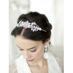 Mariell Popular Crystal Wedding Headband Or Tiara with Vintage Art Deco Floral Design