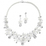 Mariell Top-Selling Handmade Bridal Necklace Set with Assorted Crystals and Rice Pearls