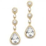 Mariell Best-Selling Rose Gold Pear-Shaped Drop Bridal Earrings with Pave CZ