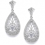Mariell Art Deco Etched Cubic Zirconia Wedding Earrings