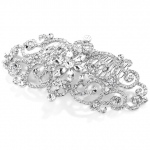 Mariell Glamorous Bold Scrolls Wedding Or Prom Hair Comb with Crystals