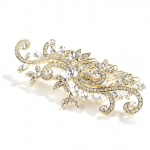 Mariell Popular Gold Wedding Or Prom Hair Comb with Pave Crystal Vines