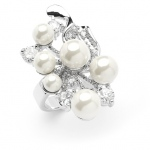 Mariell Bold Cubic Zirconia Wedding Cocktail Ring with Light Ivory Pearl Bubbles: 6""