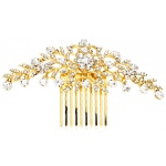 Mariell Popular Crystal Wedding Or Prom Comb with Shimmering Gold Leaves