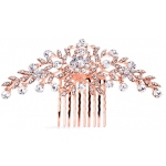 Mariell Popular Rose Gold Crystal Wedding Or Prom Comb with Shimmering Leaves