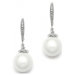 Mariell Soft Cream Pearl Bridal Earrings On Pave Wire