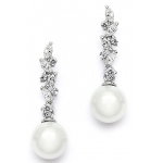 Mariell Cascading CZ Bridal Earrings with Soft Cream Pearls