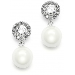 Mariell Framed CZ Bridal Earrings with 10mm Soft Cream Pearl Drop
