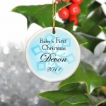 JDS Personalized Baby Boy's First Christmas Ornament