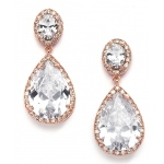 Mariell Best-Selling Cubic Zirconia Rose Gold Pear-Shaped Bridal Earrings with Clip Back