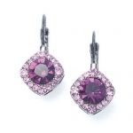 Mariell Tailored Amethyst Crystal Drop Earrings