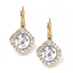 Mariell Tailored Crystal Solitaire Gold Drop Earrings