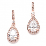 Mariell Rose Gold and Cubic Zirconia Bridal Earrings with Framed Pear Drops