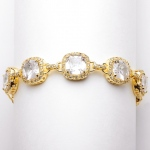 Mariell Magnificent Cushion Cut Cubic Zirconia Gold Bridal Or Pageant Bracelet