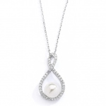 Mariell Eternity Symbol Cubic Zirconia Wedding Necklace with Pearl