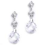 Mariell CZ Bridal Or Bridesmaids Earrings with Clear Crystal Drops