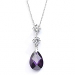 Mariell CZ Bridal Or Bridesmaids Necklace Pendant with Amethyst Crystal Drop