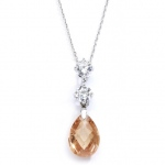Mariell CZ Bridal Or Bridesmaids Necklace Pendant with Champagne Crystal Drop