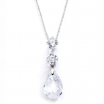 Mariell CZ Bridal Or Bridesmaids Necklace Pendant with Austrian Crystal Drop